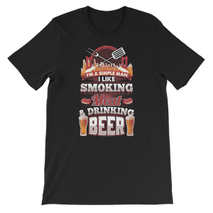 I'm A Simple Man I Like Smoking Meat And Drinking Beer - Short-Sleeve Unisex T-Shirt - Cozzoo