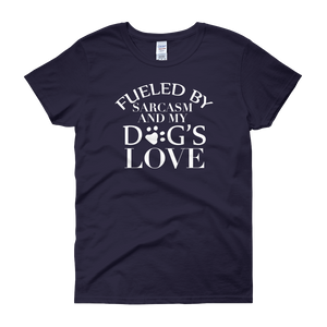 Fueled By Funny And My Dog's Love - Women's short sleeve t-shirt - Cozzoo
