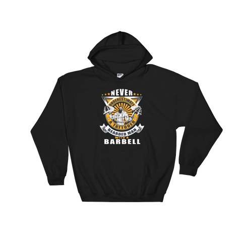 Never Underestimate A Tattooed Bearded Man With A Barbell - Hoodie Sweatshirt Sweater - Cozzoo