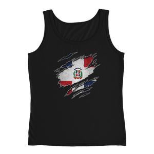 Dominican Flag Ripped Chest - Ladies' Tank - Cozzoo