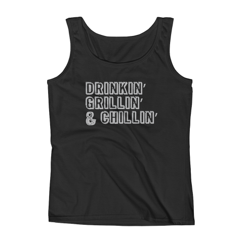Drinkin' Grillin' And Chillin' - Ladies' Tank - Cozzoo