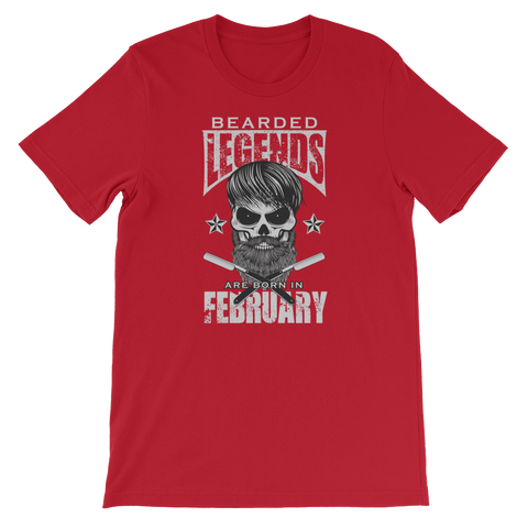 Bearded Legends Are Born In February - Short-Sleeve Unisex T-Shirt - Cozzoo