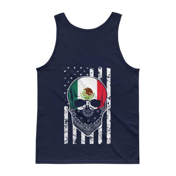 Cool Mexican Skull + American Flag - Tank top - Cozzoo