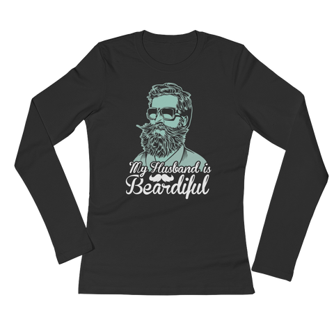 My Husband Is Beardiful - Ladies' Long Sleeve T-Shirt - Cozzoo