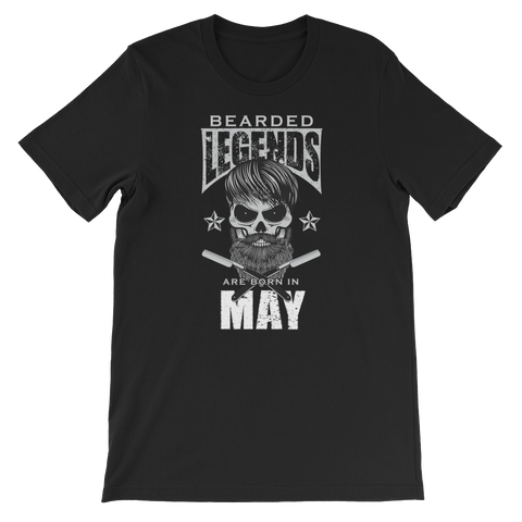 Bearded Legends Are Born In May - Short-Sleeve Unisex T-Shirt - Cozzoo