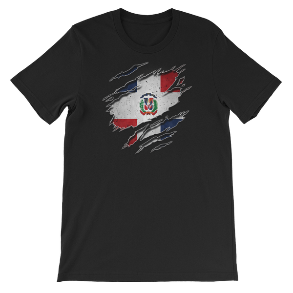 Dominican Flag Ripped Chest - Short-Sleeve Unisex T-Shirt - Cozzoo