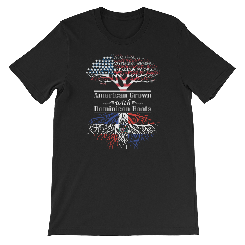 American Grown With Dominican Roots - Short-Sleeve Unisex T-Shirt - Cozzoo