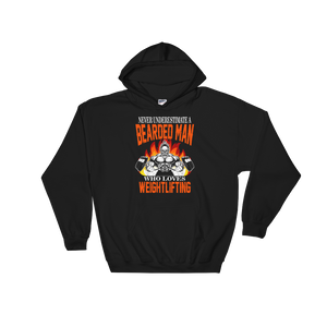 Never Underestimate A Bearded Man Who Loves Weightlifting - Hoodie Sweatshirt - Cozzoo