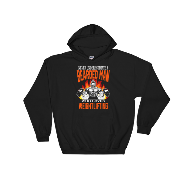 Never Underestimate A Bearded Man Who Loves Weightlifting - Hoodie Sweatshirt Sweater - Cozzoo