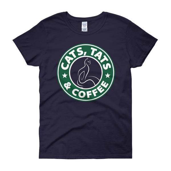 Cats, Tats & Coffee - Women's short sleeve t-shirt - Cozzoo