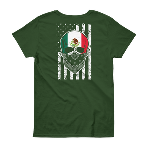 Cool Mexican Skull + American Flag - Women's short sleeve t-shirt - Cozzoo