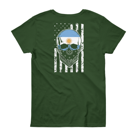 Cool Argentine Skull + American Flag - Women's short sleeve t-shirt - Cozzoo