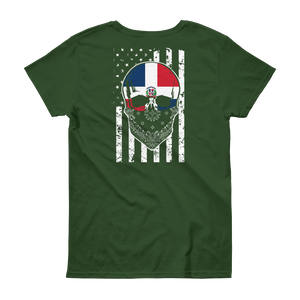 Dominican Skull + American Flag - Women's short sleeve t-shirt - Cozzoo