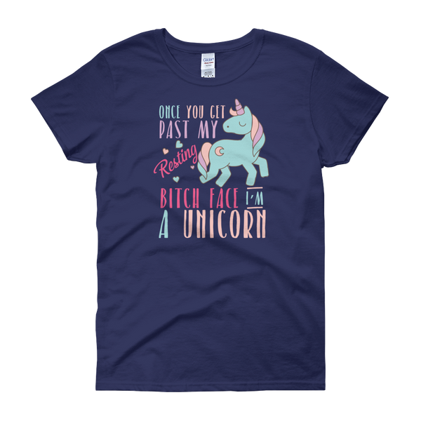 Once You Get Past My Resting Bitch Face I'm A Unicorn - Women's short sleeve t-shirt - Cozzoo