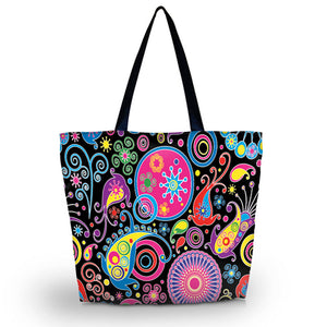 Beach Canvas Shoulder Beach Tote Purse Canvas Handbags Totes Bags - Colorful Mandala - Women's Shoulder Bags - Cozzoo