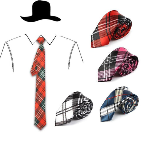 5 cm 4 Colors  Scottish Plaid Stripes Tartan Pattern Men's Skinny Neckties - Cozzoo