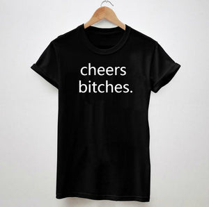 Cheers Bitches T-Shirts - Women s Crew Neck Novelty Top Tee - Cozzoo 7b11e4f95f09
