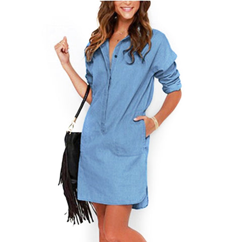 Dark Blue And Light Blue Button Polo Denim Jean Dress - Cozzoo