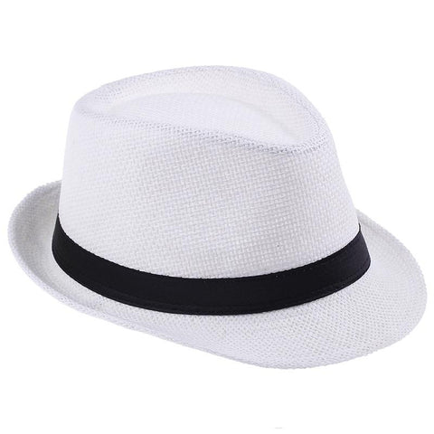Fedora Trilby Hat - Plain Colors Panama Straw 6 Colors - Cozzoo