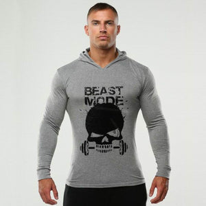 Beast Mode Skull Head Barbell Tight Hoodie Sweater - Cozzoo