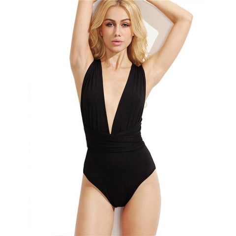 Black Women Bodysuit  Plunge Neck Backless Sheath Deep V Neck Multiway Cross Wrap Sleeveless - Cozzoo