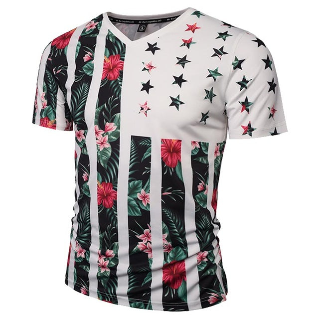 USA Flowers Flag - Unisex T-shirt - All Over Print - Cozzoo