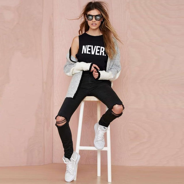NEVER Women Sleeveless T-shirt Tank Top - Cozzoo