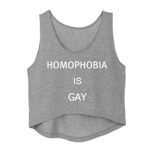 Homophobia Is Gay Crop Top - Women's Sleeveless Shirt - Cozzoo