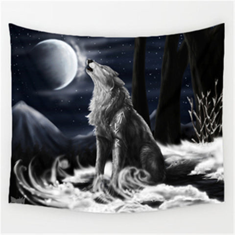 White Wolf Animal Wall Decor Tapestry - Cozzoo