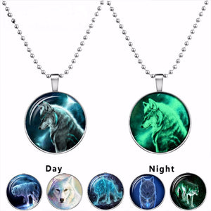 Wolf Blue Glow In The Dark Necklace Pendant - Cozzoo