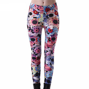 Floral Skull Printed Leggings For Women - Cozzoo