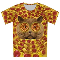 Cat Pizza Hypnotizing Pizza Eyes All Over Print 3d T-shirt - Cozzoo