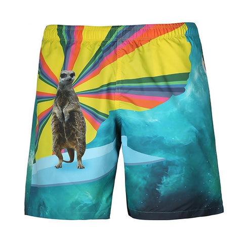 Funny Meerkat All Over Print Mens Swim Trunks Swimming Shorts Bathing Suits Swimwear Swimsuit Bathing Suit - Cozzoo