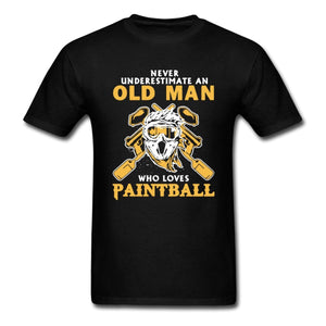 Never Underestimate An Old Man Who Loves Paintball - Grandpa T-Shirt - Cozzoo