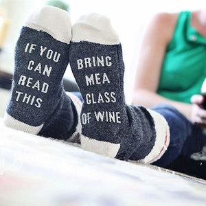 If You Can Read This Bring Me A Glass Of Wine - Socks Funny Crazy Cool Novelty Cute Fun Funky Colorful - Cozzoo