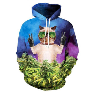 Weed Marijuana Sunglasses Cat Peace Sign Funny All Over Print Hoodie Sweater - Cozzoo