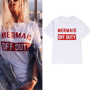 Mermaid Off Duty T-Shirt - Ladies Crew Neck Novelty Tops - Cozzoo