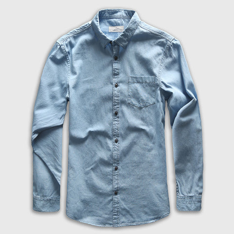 Sky Blue Button Downs Denim Jeans Long Sleeve Polo Shirts - Cozzoo