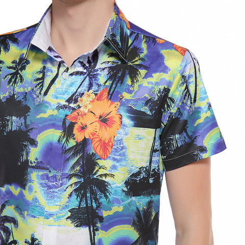 Blue Coconut Tree Beach Aloha Hawaiian Button Down Men's Polo - Cozzoo