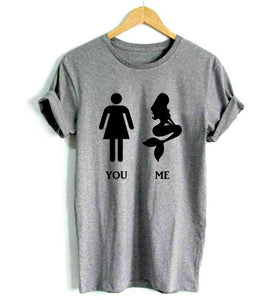 You Me Body Comparison Mermaid T-Shirts - Women's Crew Neck Novelty Top Tee - Cozzoo