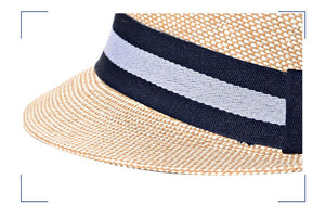Fedora Trilby Hat - Straw - Stripe - 4 Colors - Cozzoo