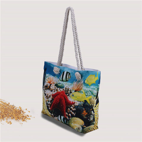 Beach Canvas Tote Bags - Submarine World Fish Women's Shoulder Bags - Cozzoo