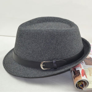 Fedora Trilby Hat - Wool Cap -  (black, gray, brown) - Cozzoo