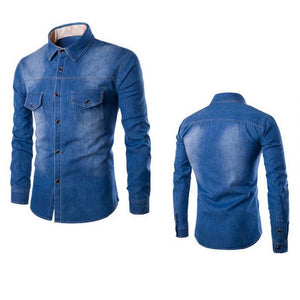 Dark Blue Pocket Button Downs Denim Jeans Men's Long Sleeve Polo Shirts - Cozzoo
