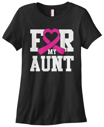 For My Aunt Breast Cancer Awareness Printed T-Shirts - Ladies Novelty Top Tee - Cozzoo