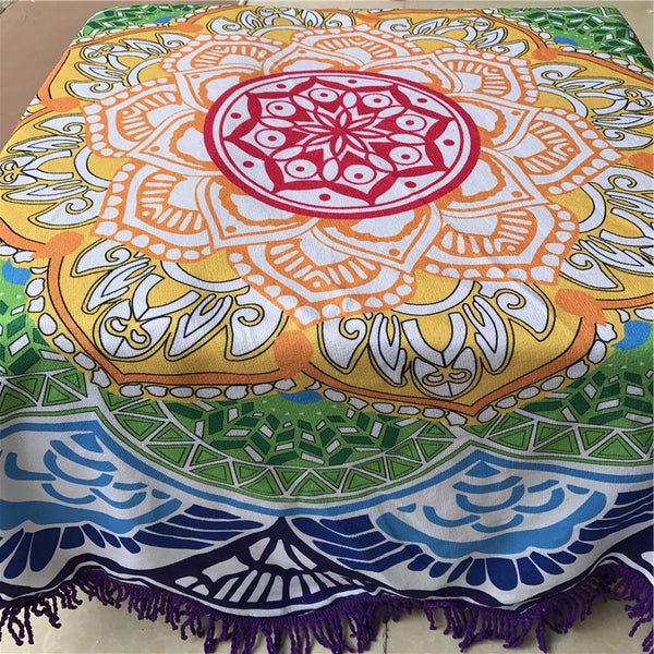 Indian Mandala Tapestry Tassel Round Beach Towels - Cozzoo
