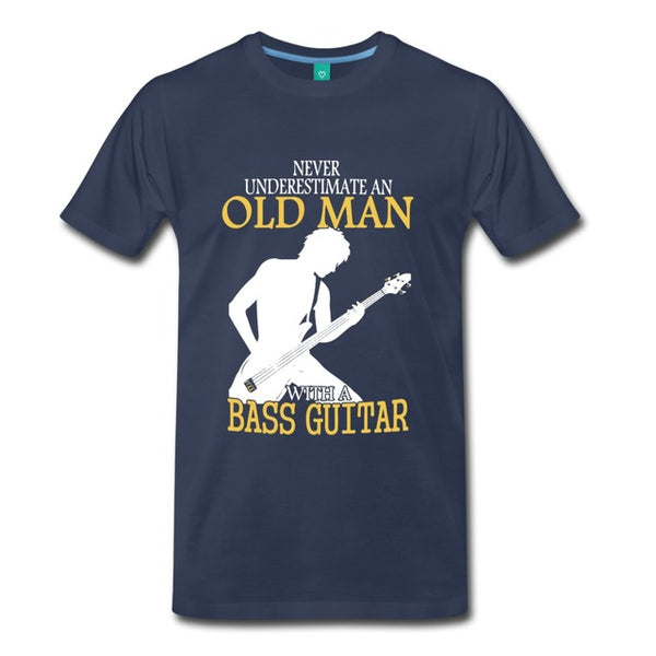 Never Underestimate An Old Man With A Bass Guitar - Men's T-Shirt - Cozzoo