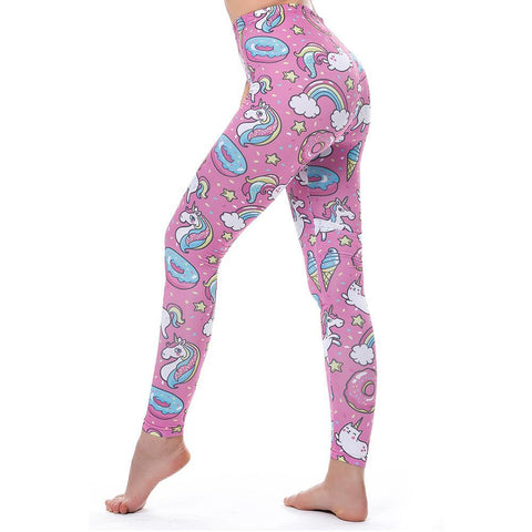 Pink Unicorns Donuts Rainbow Printed Leggings For Women - Cozzoo