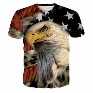American Flag Eagle All Over Print T-Shirt - Men's Crew Neck T-Shirt - Cozzoo