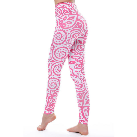 Pink Paisley Pattern - Women's Hi-Waist Fitness Leggings - 3-D Graphic Printed - Cozzoo